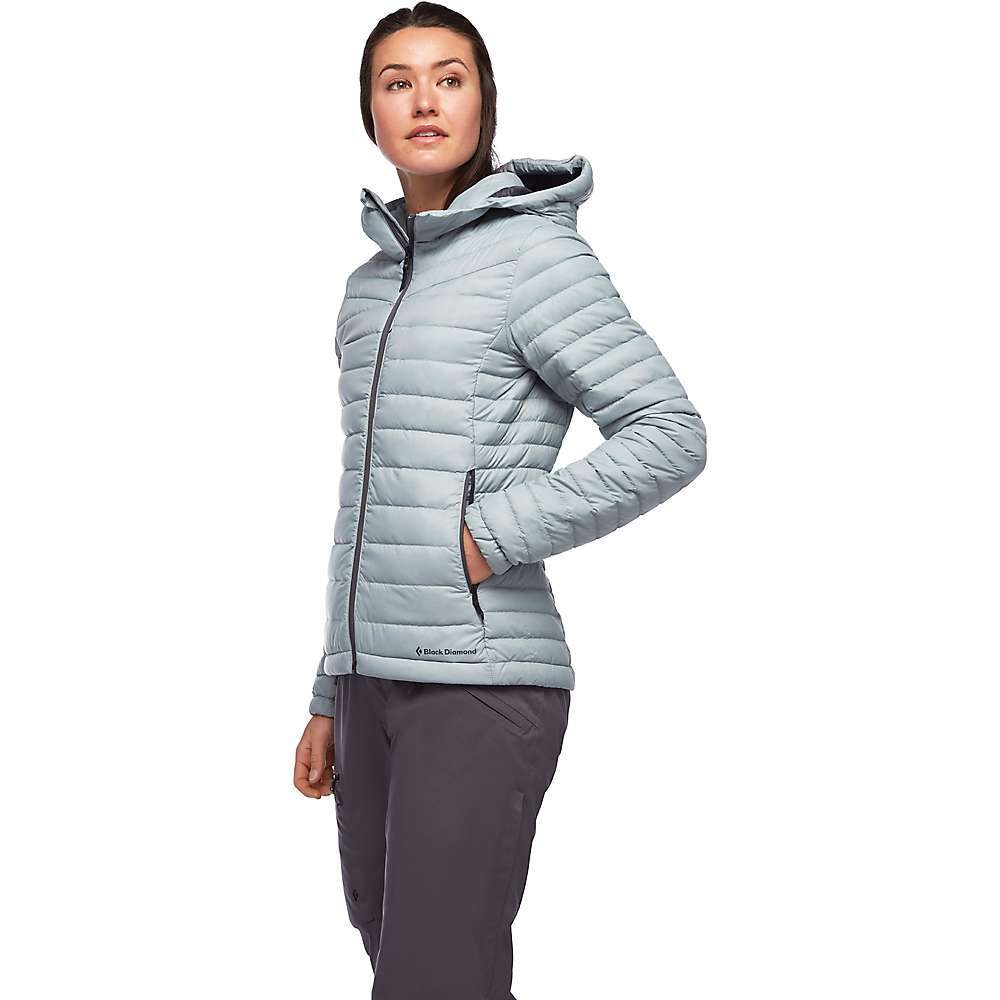 Features of the Black Diamond Women's Access Down Hoody Fully redesigned fabric and Fit for 2019 Lightweight nylon ripstop shell fabric Two zippered hand pockets and zippered chest pocket Elastic cuffs and hood opening 700 fill-power RDS certified goose down with DWR treatment Fabric Details Shell: 30D 100%Nylon Lining: 20D 100%Nylon - $258.95