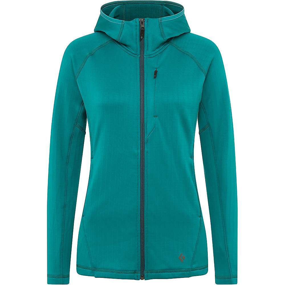 Features of the Black Diamond Women's Factor Fleece Hoody Technical polyester/wool stretch fleece Close-Fitting, under-the-helmet hood Two YKK zippered hand pockets and zippered chest pocket Integrated thumb-holes Fabric Details 92%Polyester, 6%Elastane, 2%Wool - $138.95