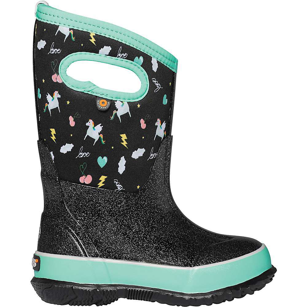Features of the Bogs Kids' Classic Pegasus Boot 100% Waterproof Constructed with 7mm Neo-Tech waterproof Insulation DuraFresh natural bio-Technology activates to fight odors Bogs Max-Wick evaporates sweat to keep feet dry Durable, hand-lasted rubber over a four-way stretch inner bootie Self-cleaning Outsole BLOOM eco-friendly, algae-based EVA Footbed that helps clean polluted water habitats Easy on handles Comfort rated to -30-?F/-34-?C Reflective temperature rating mark on heel - $79.95