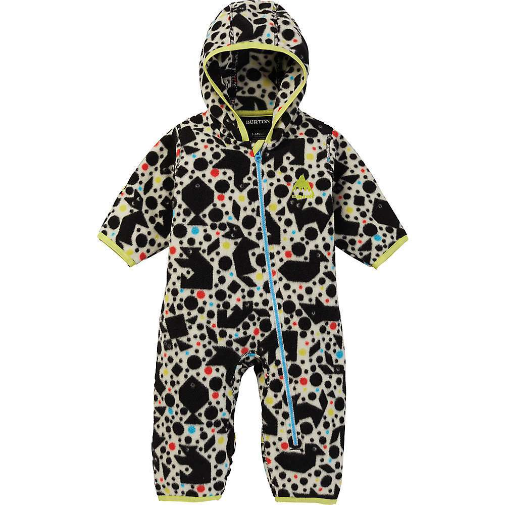 Features of the Burton Toddlers' Fleece Onesie Not too tight or too baggy Recycled polyester polar fleece Attached hood with stretch binding at opening Stretch binding at cuffs Crotch gusset for ease of movement Flip-over mittens and booties Unisex sizing - $64.95