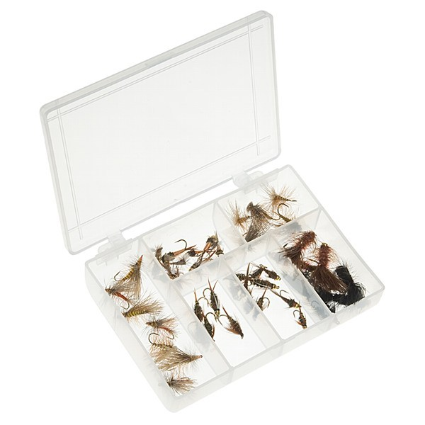 CLOSEOUTS . The Dream Cast Absolute Assorted Trout fly box includes 48 assorted trout flies in 6 compartments. - $69.95