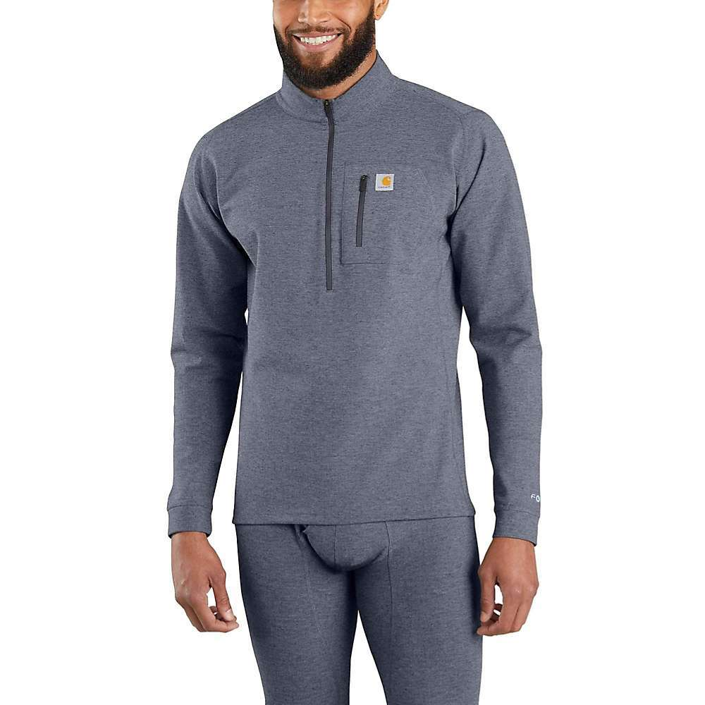 Features of the Carhartt Men's Base Force Heavyweight Quarter- Zip Heavyweight, ForceA(R) Base Layer Built with Force FastDryA(R) Technology to wick sweat and dry fast Built to move with Rugged FlexA(R) stretch Technology Fights Odors Smooth Flatlock seams and tagless label for comfort Concealed thumb loop Fabric Details: 95% Polyester / 5% Spandex - $49.99