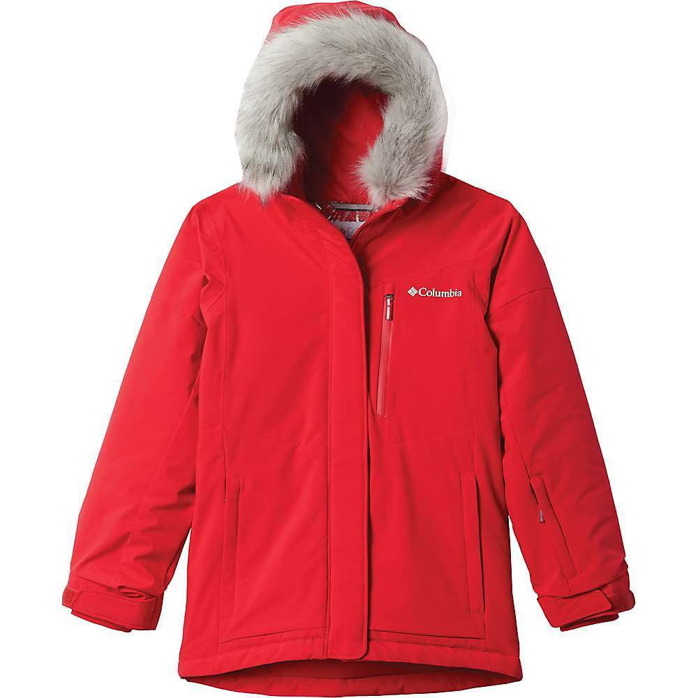The Columbia Girls' Ava Alpine Jacket is a winter jacket for wrapping her up and sending her out the door to play. Winters can be long, especially if the kiddos don't get out to get all the wiggles out. The Snow can be cold, but not with Omni-Tech waterproof, breathable fabric to keep her dry and Omni-Heat reflective lining to add warmth. It's also insulated with 100g of Microtemp XF II for extra heat. Features a powder skirt, ski pass pocket and goggle pocket for days on the slopes and a removable faux fur at the hood for changing style and warmth level around her face. Features of the Columbia Girls' Ava Alpine Jacket Omni-Tech waterproof, breathable Omni-Heat reflective lining Outgrown grow system Attached, adjustable hood Adjustable, snap back powder skirt Silicone grippers on powder skirt Zippered hand and chest pockets Ski pass pocket Media and goggle pocket Warm-lined pockets Adjustable sleeve cuffs Reflective detail Removable faux fur Comfort cuff with thumb hole Fabric Details Omni-Tech rebound stretch 100% Polyester Lining: Omni-Heat reflective lining 100% Polyester Insulation: Microtemp XF II 100% Polyester - $109.95
