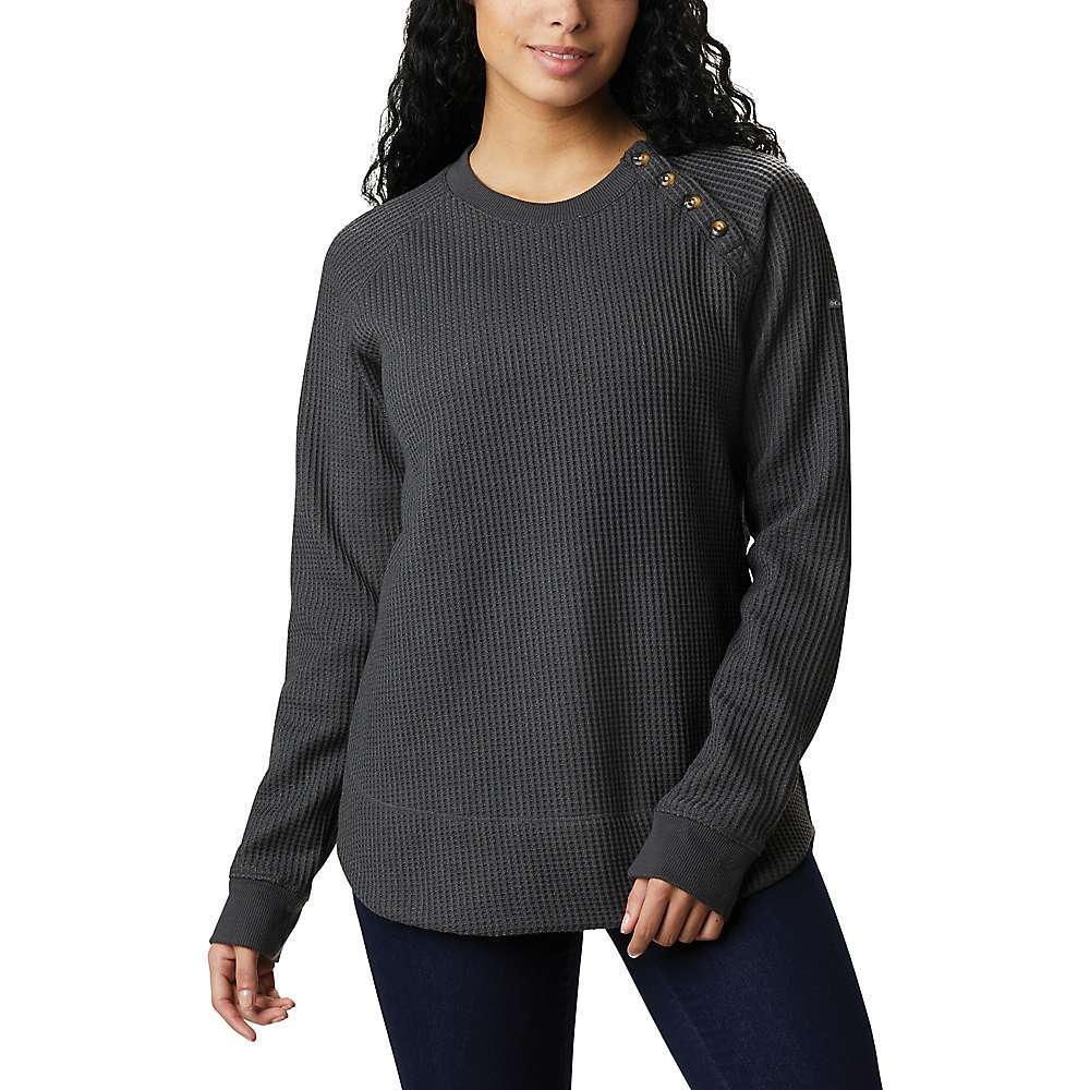 The Columbia Women's Chillin Sweater is casual wear for the long weekend. Short weekends also apply, but bewAre, the cozy waffle fabric will have you wanting to call in sick on Monday just to extend the fireside couch time while wearing this. The polyester and elastane blend is a thermal fleece, soft and warm for the colder months. Features of the Columbia Women's Chillin Sweater 98% Polyester, 2% Elastane thermal fleece - $69.95