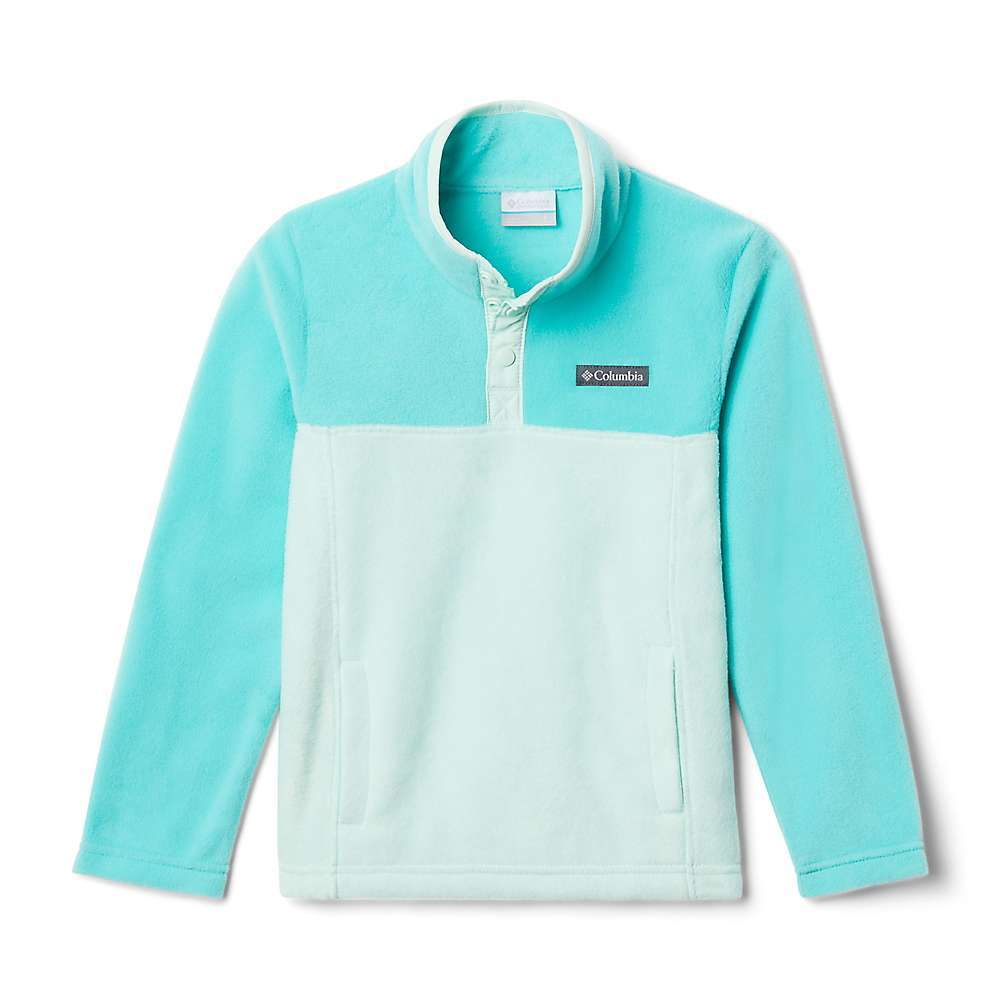 The Columbia Youth Steens Mtn 1/4 Snap Fleece Pull-Over is a fleece top for everyday warmth. Pull it on before heading to school, a friend's house and so much more. Soft fleece for staying cozy and a 1/4 snap placket to release some excess heat or close it off to a breeze. Hand pockets for hanging onto house key or just keeping hands warm. Features of the Columbia Youth Steens Mtn1/4 Snap Fleece Pull-Over Hand pockets Binding at collar Fabric Details 250g 100% Polyester MTR filament fleece - $21.99