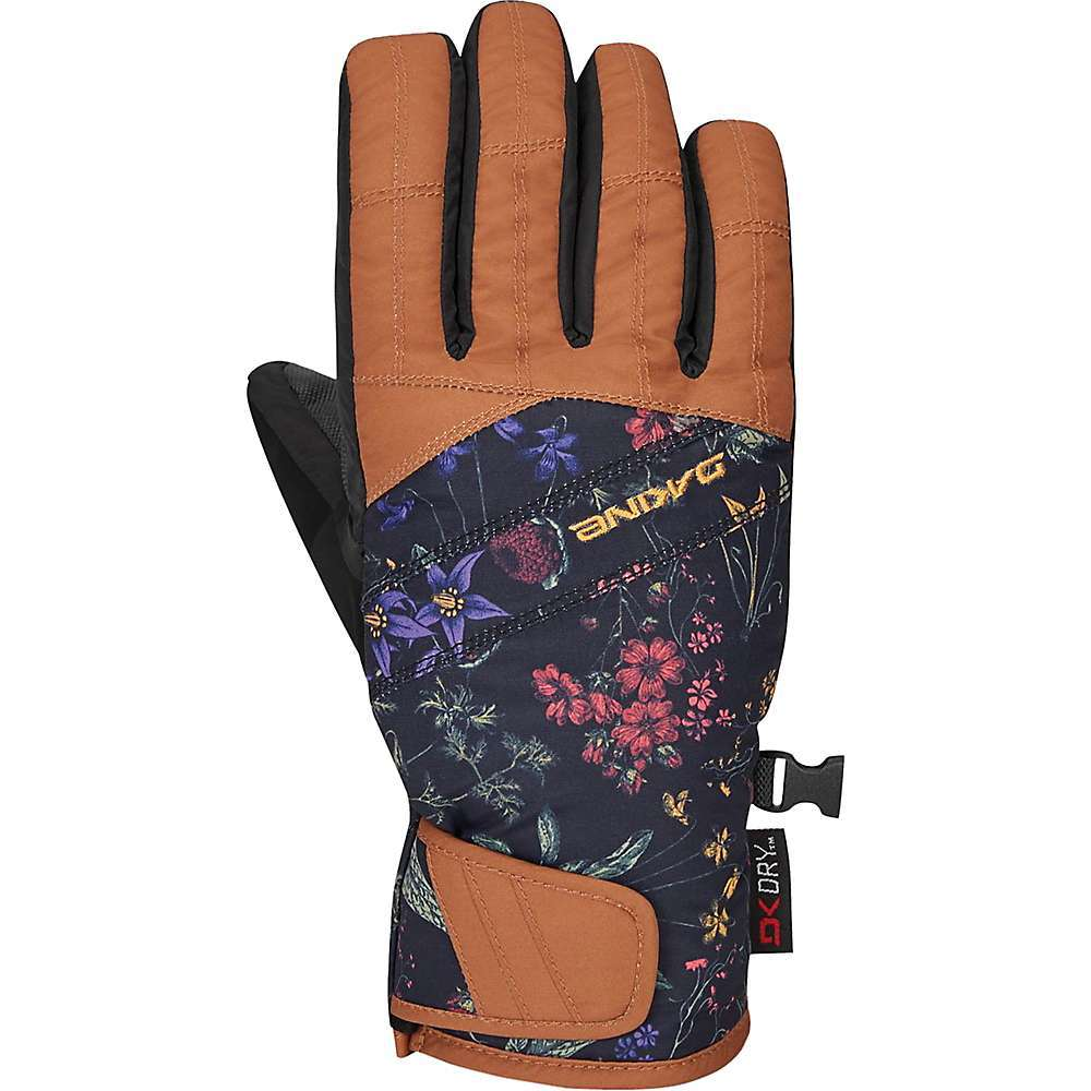 Features of the Dakine Women's Sienna Glove Lightweight and low profile Provides freedom of movement while keeping your digits warm and dry in mild conditions The fleece lining gives you a nice plush hand feel, the nylon/poly shell is durable, and the DK Dry(TM) insert adds a waterproof barrier between the two A PU palm helps with grip, and thanks to the nose wipe thumb panel and touch screen compatible fingers you'll spend less time with your gloves off in the cold - $35.99