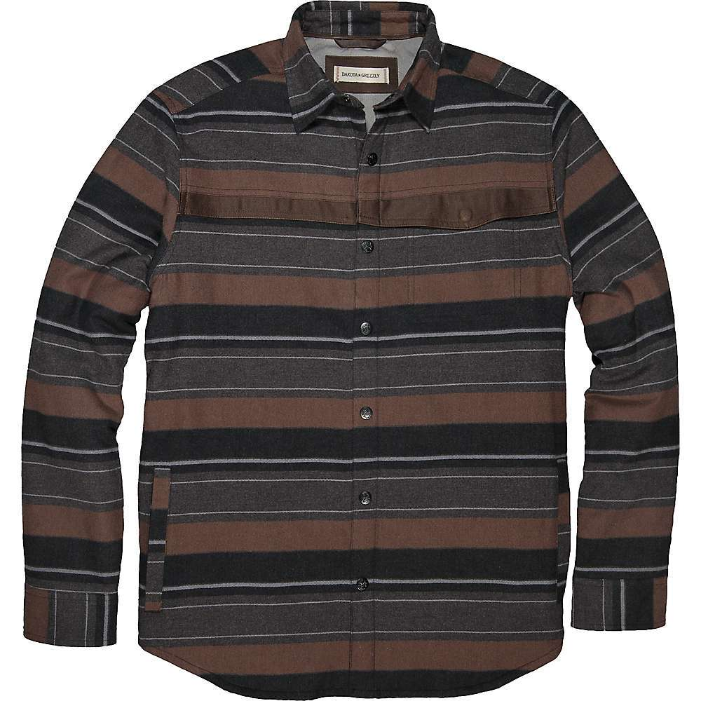 Features of the Dakota Grizzly Men's Hawk Shirt Jacket Cotton brushed flannel stripe Quilted tricot lining Microsuede trim Hidden snap chest pocket Side entry pockets - $97.95
