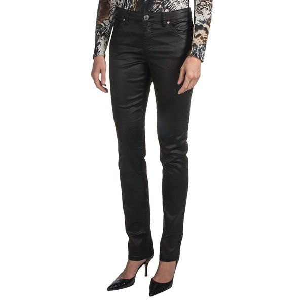 CLOSEOUTS . The classic low-rise silhouette of FDJ French Dressingand#39;s Kylie gets a flashy update in these Glam jeans. The stretch fabric is specially coated to create a leather-like sheen, and metallic accents adorn the back pockets. Available Colors: BLACK. Sizes: 2, 4, 6, 8, 10, 12, 14, 16. - $12.79