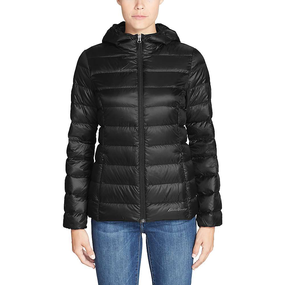 Features of the Eddie Bauer Women's Cirruslite Down Hooded StormRepel DWR finish sheds moisture 650 Fill premium down Insulation Responsible down standard (RDS) certified down Insulation Secure zip hand pockets Elastic cuffs and hem help seal out cold Fabric Details 100% Nylon - $77.37