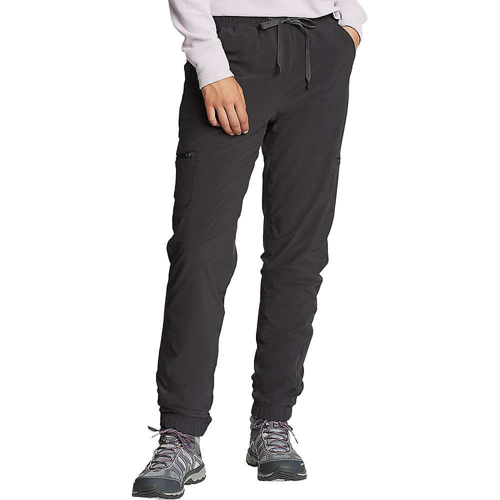 Features of the Eddie Bauer Women's Flexion Polar Lined Pull On Pant Secure zip side pockets on tHigh Curved back yoke for added shape and enhanced Fit Side back pocket on right Front hand pockets Slightly curvy, sits below natural waist, mid-rise, moderately curvy through hip and tHigh Fabric Details 86% Polyester, 14% Spandex - $53.97