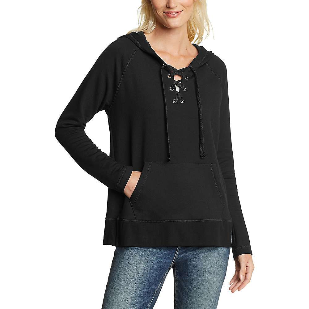 Features of the Eddie Bauer Motion Women's Everyday Enliven Long Sleeve Lace Up Hoodie Single kangaroo front pocket Relaxed on body Fabric Details 69% Viscose, 26% Cotton, 5% Spandex - $50.97