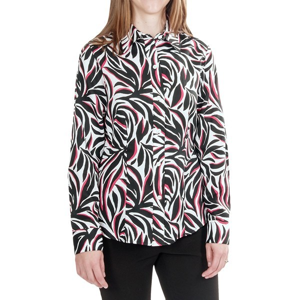 CLOSEOUTS . If you like the extroverted design, youand#39;ll love the wrinkle-free bonus of Foxcroftand#39;s fitted cotton shirt, executed in a black, white and red interpretation of abstract palms. Available Colors: BLACK. Sizes: 4, 6, 8, 10, 12, 14, 16, 18. - $6.80