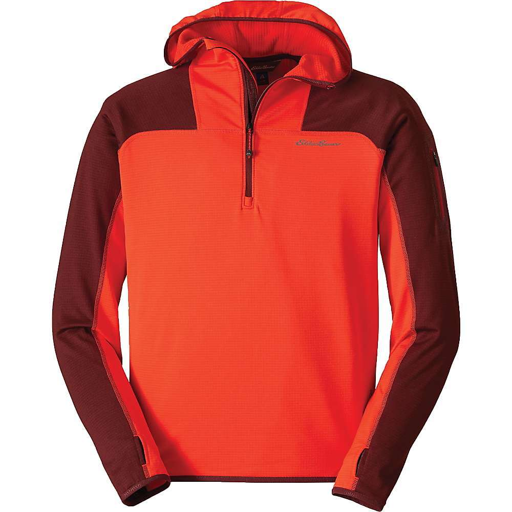 Features of the Eddie Bauer First Ascent Men's High Route Long Sleeve Grid Fleece Hoodie 1/2-zip pullover with mock neck for added warmth Raglan back sleeves for unrestricted mobility Thumbhole sleeves for extended coverage and easy layering Secure zip pocket on left arm Drop-tail hem Exterior locker loop at back of neck Fabric Details 95% Polyester, 5% Spandex - $59.37