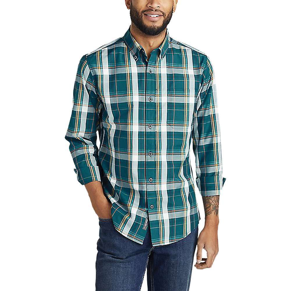 Features of the Eddie Bauer Travex Men's On the Go Long Sleeve Poplin Shirt This shirt makes life on the road a whole lot easier - $41.97