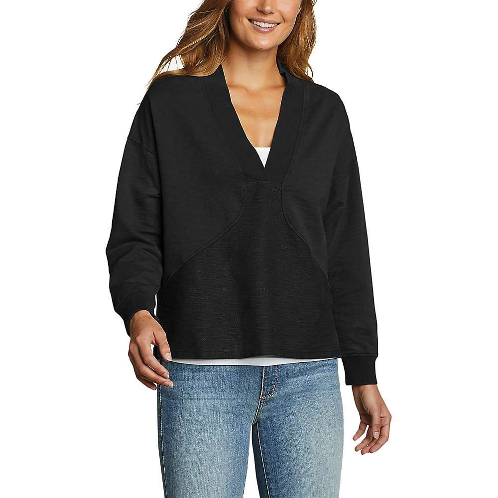 Features of the Eddie Bauer Travex Women's Golden Point Terry V-Neck Sweatshirt Rib-knit cuffs for enhanced recovery Side-seam vents Relaxed on body Fabric Details 100% Cotton - $44.97
