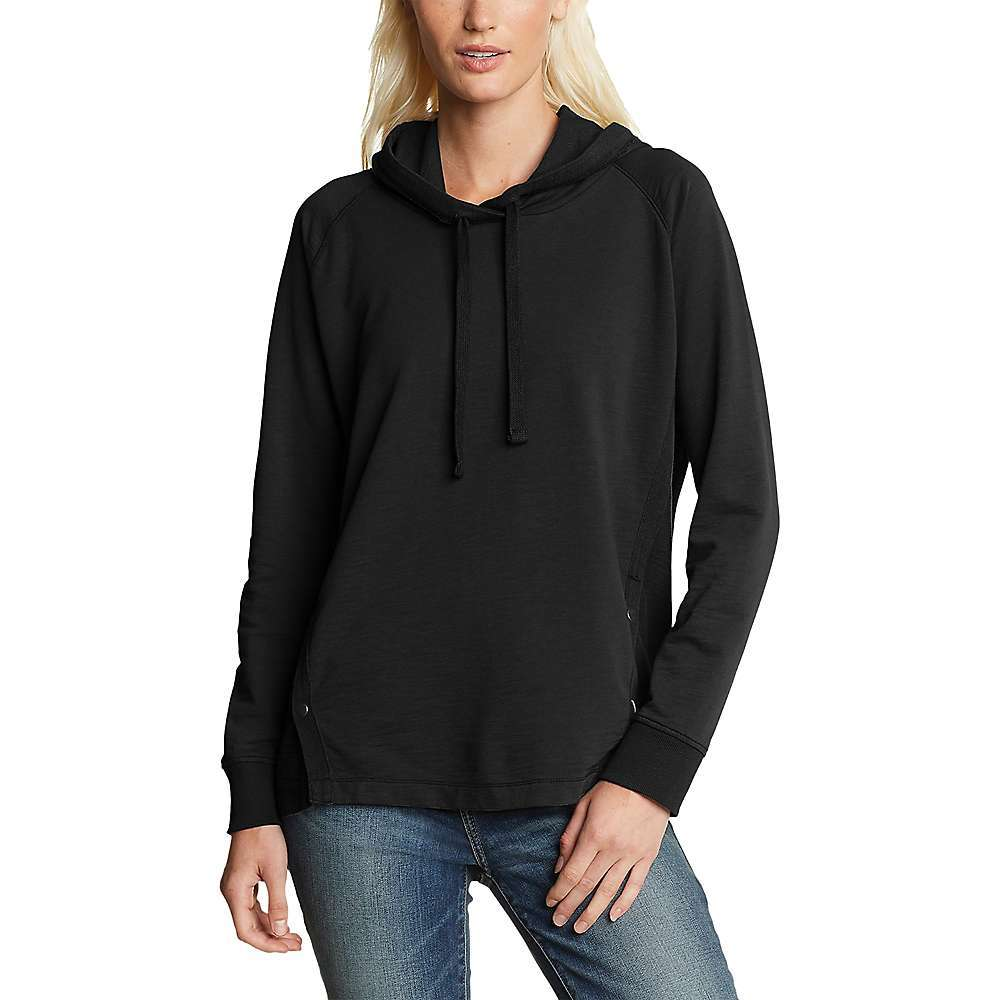 Features of the Eddie Bauer Travex Women's Golden Point Terry Long Sleeve Hoodie Contrasting side panels with functional snaps Relaxed on body Fabric Details 100% Cotton - $41.97