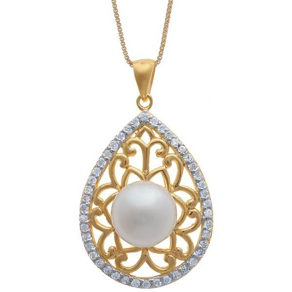 CLOSEOUTS . A teardrop to capture her heart, this Gemstar necklace nestles a single freshwater pearl in 18K gold filigree, then surrounds it with a sparkling border of cubic zirconia accents. Available Colors: WHITE. - $11.80