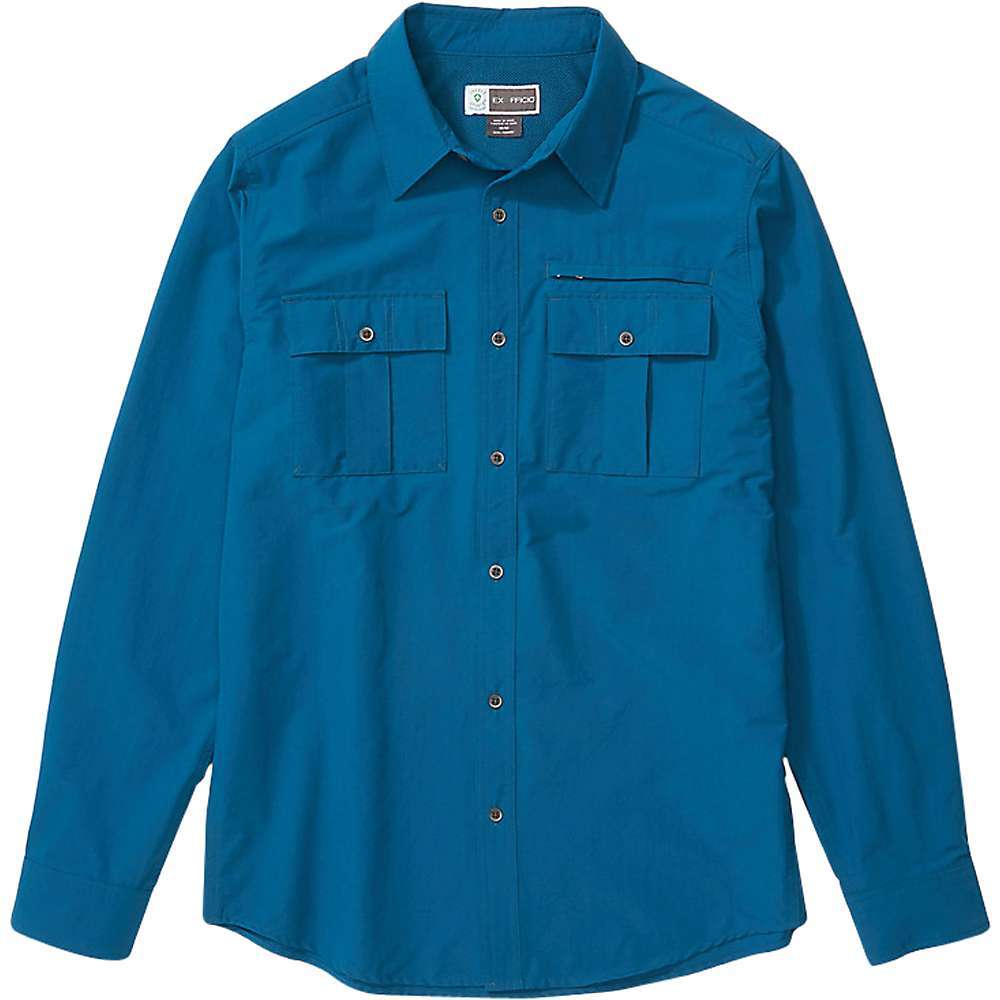 Features of the ExOfficio Men's BugsAway Arcan Long Sleeve Shirt BugsAway insect-repelling fabric wards off ticks, mosquitoes and midges Lightweight stretch-nylon is abrasion-resistant and durable Nylon fabric is water resistant, quickdrying, and wicks moisture away Sun protection with an ultraviolet protection factor (UPF) of 50 Vents on shirt back help keep you cool bluesign approved fabric reduces the negative environmental impact of textile production Fabric Details 94% Full Dull Nylon, 6% Elastane, Warp Stretch Woven, Durable Water Repellent - $89.95