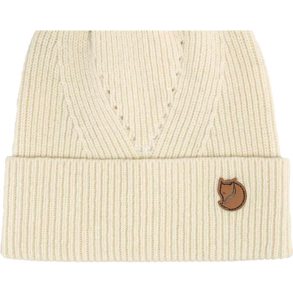 Features of the Fjallraven Directional Rib Beanie Knitted hat in soft, traceable wool Rib-knitting with hole pattern and wide fold-up edge Leather logo slightly to the side - $39.95