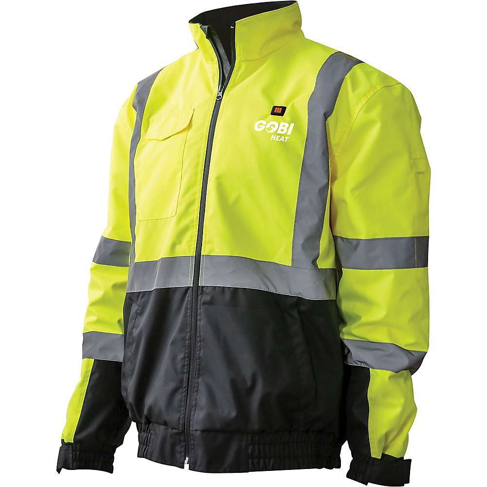 Features of the Gobi Heat Men's Flash Reflective 3 Zone Heated Jacket 3-zone heating - 2 in the chest and a large zone in the back 10 Hour battery life with lightweight, comfortable lithium-Ion battery One-touch LED controller with 3 heat settings: low, medium, and High Conductive thread heating elements Wind and water resistant polyester fabric with easy-to-clean nylon inner Adjustable velcro cuffs and roll-away hood - $198.95