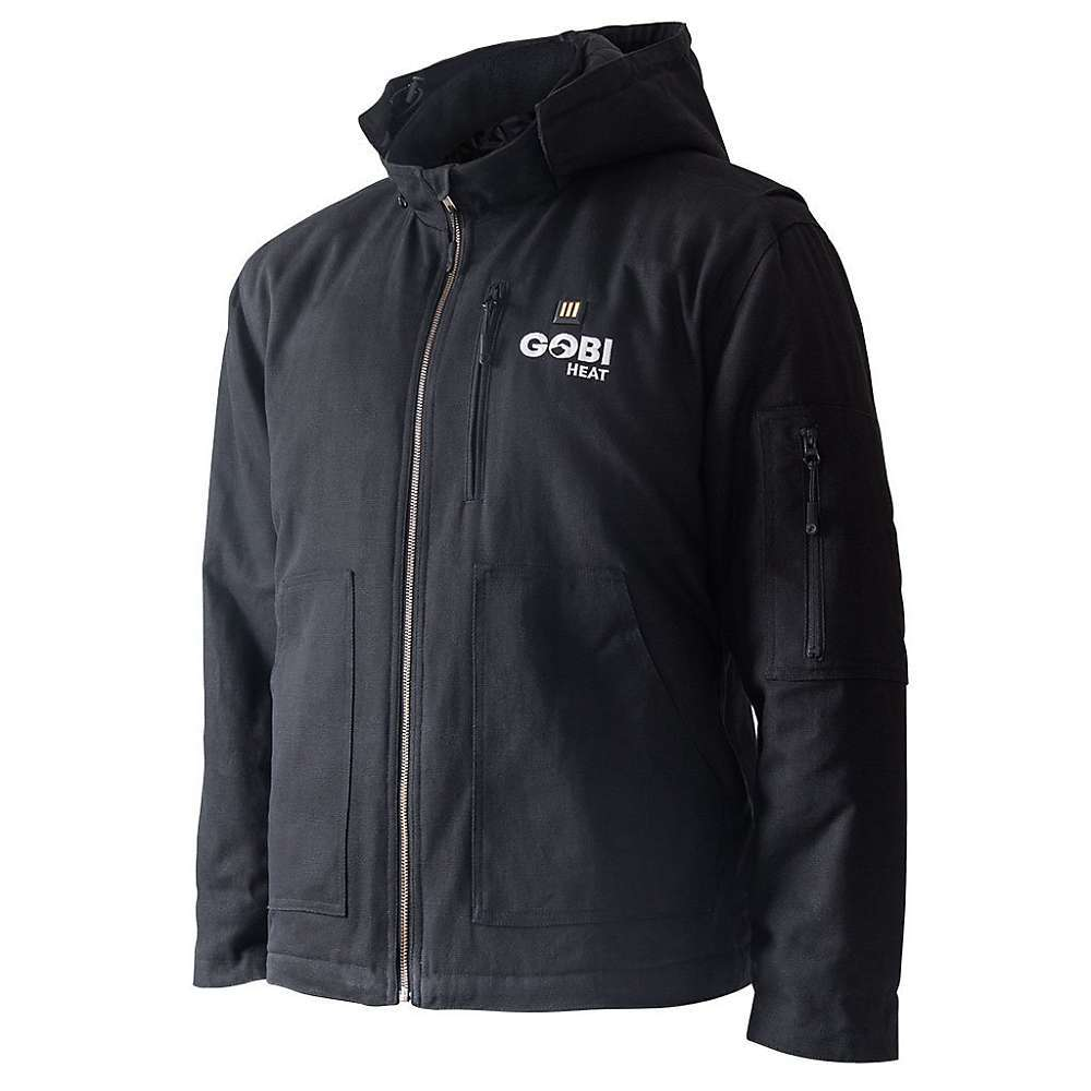Features of the Gobi Heat Men's Grit 5 Zone Heated Workwear Jacket 5-zone heating - 4 in the front and a large zone in the back 9 Hour Battery Life with lightweight, comfortable lithium-Ion battery One-touch LED controller with 3 heat settings: Low, Medium, and High Conductive thread heating elements Wind and water resistant 380g duck cotton material Elastic cuffs, removable hood, cinch bungees, drop tail hem - $238.95