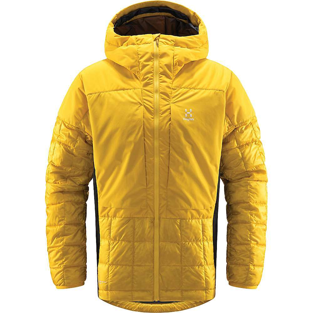 The Haglofs Men's Nordic Mimic Hoodie is an Insulation layer for cold days on any mountain adventure. An outer layer or midlayer, the versatile piece Features Primaloft Aerogel and Mimic Platinum Insulations, offering incredible heat when the hike or climb gets frigid. The Pertex shell fabric keeps the jacket weight down, while offering abrasion-resistance and a durable water repellent finish sheds light moisture. Hood up, more adventure ahead. Features of the Haglofs Men's Nordic Mimic Hoodie Durable and protective shell layer at hood, shoulder and chest Areas insulated with Primaloft Aerogel Lightweight tear- and wind-resistant fluorocarbon free DWR-treated Pertex shell fabric insulated with Mimic Platinum, for superior warmth even when wet Stretchy side panels for movement, made from durable FlexAble fabric Chest pockets can be accessed while wearing harness/backpack SquAre quilted construction Articulated sleeves with elasticated cuffs and adjustable hem for heat retention Vislon front zip G?? easily manageable with gloves on Fabric Details Pertex Quantum, 100% Recycled Polyamide - $329.95