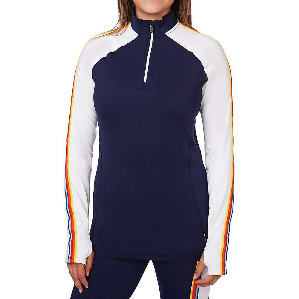 Features of the Hot Chillys Women's Micro Elite Chamois Retro Zip T Micro-Elite Chamois fabric Screen printed on back of zip-t Raglan sleeves Rainbow stripe down sleeves Extended sleeves with thumbholes UPF 30 sun protection 4-way stretch - $89.95