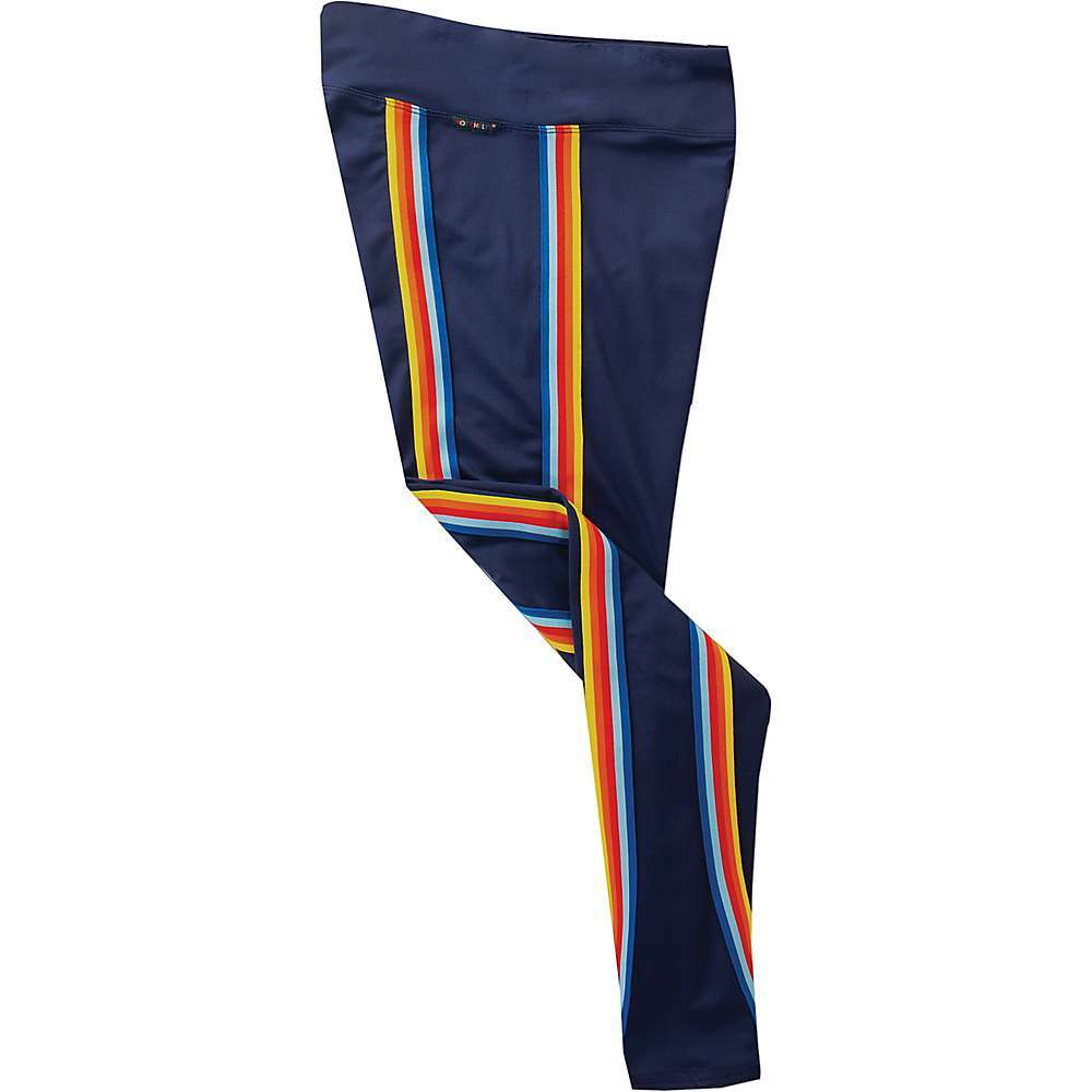 Features of the Hot Chillys Women's Micro Elite Chamois Retro Legging Micro-Elite Chamois fabric Rainbow stripes down both sides Smooth, wide waistband for a flattering Fit Gusset eases movement and reduces seam bulk - $79.95
