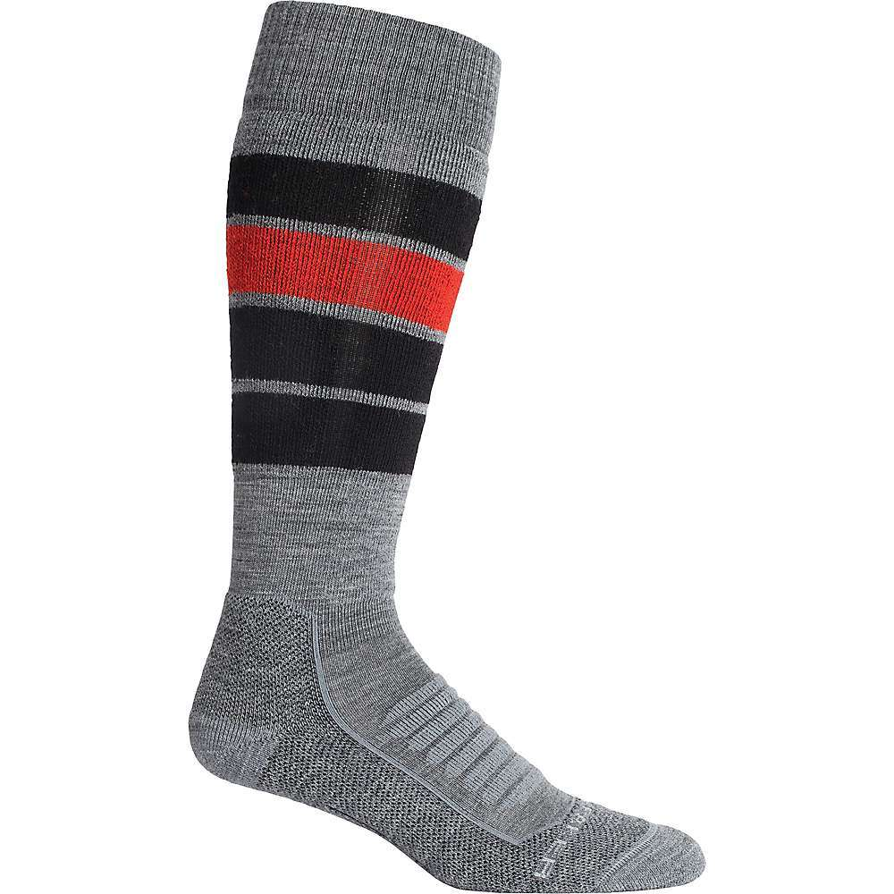 Features of the Icebreaker Men's Ski+ Medium Over The Calf Heritage Stripe Sock Anatomically sculptured, fully cushioned ski sock Comfortable, warm, breathable, stretchy, odor-resistant Fabric Details 58% Merino wool, 39% Nylon, 3% Lycra - $27.95