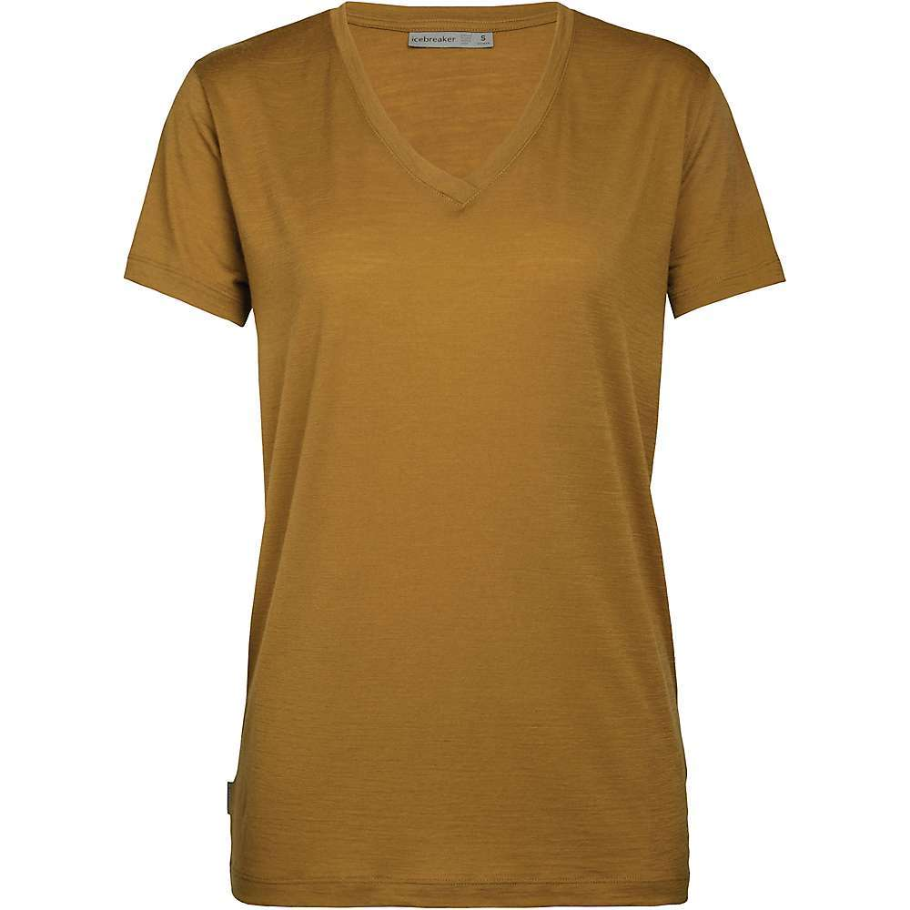 The Icebreaker Women's Ravyn SS V Neck Top is an soft option for everyday wear. Casual during-the-week wear to relaxing weekends with the gals in a simple, solid color. The super lightweight fabric won't itch and the Corespun merino wool and nylon blend is durable and odor-resistant. The relaxed v-neck style won't squeeze too tight and offers coverage with a touch of hello at the neckline. Features of the Icebreaker Women's Ravyn Short Sleeve V Neck Top Corespun fabric for enhanced durability Relaxed wide V-neck Icebreaker pip label Fabric Details 87% Merino, 13% Nylon - $74.95