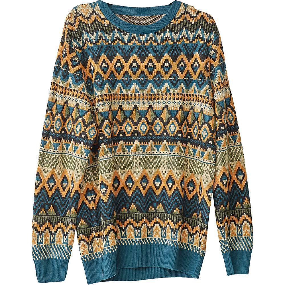 Features of the KAVU Men's Winter Slide Sweater Birdseye jacquard fully fashioned crew neck sweater Ribbed collar Cuffs and hem Fabric Details 5% Alpaca, 22% Merino wool, 35% Nylon, 38% Viscose - $119.95