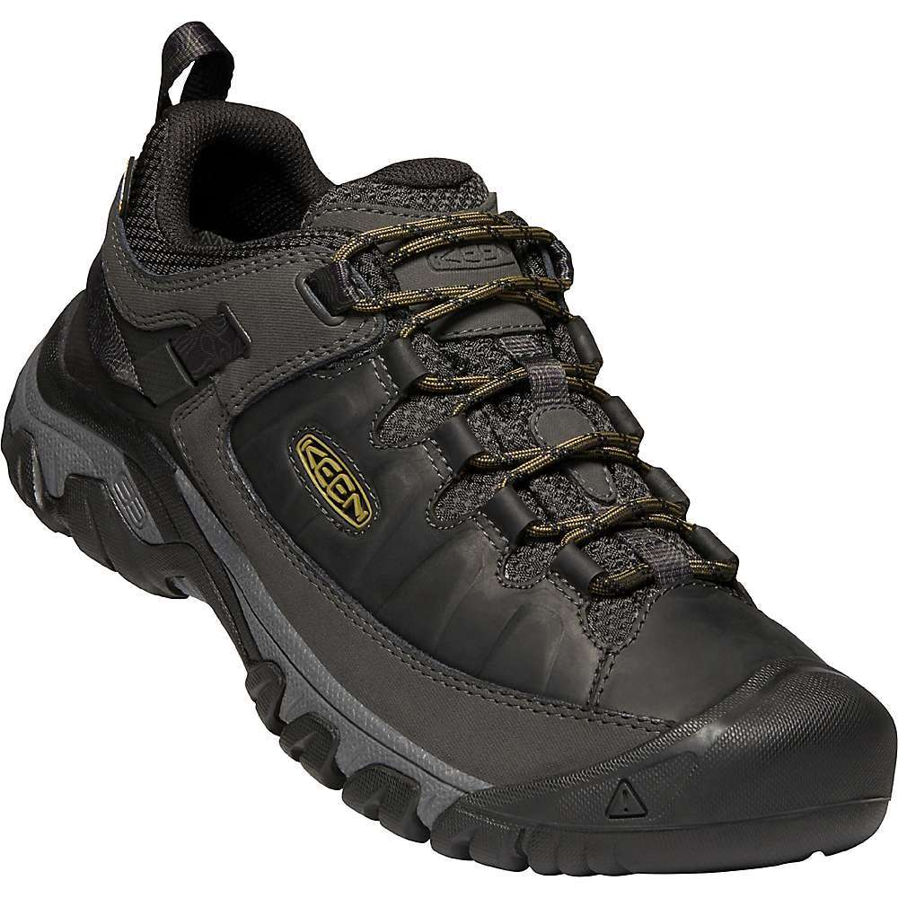 The KEEN Men's Targhee III Waterproof Shoe is a rugged, low hiker for the trails. Updated looks and burly as ever, the KEEN. Dry; membrane provides waterproof protection beneath the leather mud shield and mesh Upper. Support comes from an ESS shank and the 4mm lugs provide the traction necessary for every mile. Features of the KEEN Men's Targhee III Waterproof Shoe Waterproof, leather and Performance mesh Upper KEEN DRY waterproof, breathable membrane Leather mud shield offers resilient durability Breathable mesh lining Removable, metatomical Dual-Density EVA Footbed Injected TPU heel-capture system for stability Dual-Density, compression-molded EVA Midsole ESS shank offers lightweight support Resilient, internal shank KEEN all-terrain rubber Outsole for High-traction grip 4mm Multi-directional lugs for traction Cleansport NXT for natural odor control Environmentally-preferred premium leather from LWG-certified tannery - $139.95