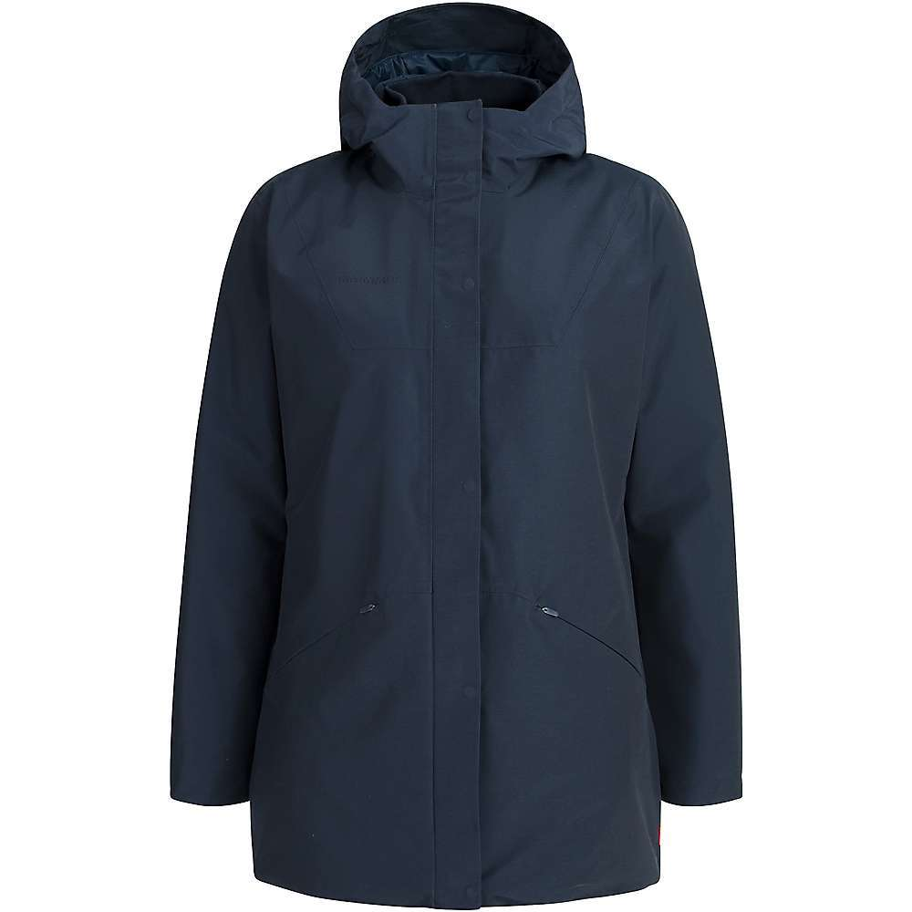 Features of the Mammut Women's Chamuera HS Thermo Hooded Parka Windproof, waterproof 2-layer MAMMUT DRYTechnology material with 10,000 mm water column and 10,000 g/m^2/24h water vapor permeability Filled with 150 g/m^2 synthetic fiber on body and 120 g/m^2 synthetic fiber on arms Cotton-look outer material for an urban look & feel 2-point adjustment on hood Concealed two-way front zipper 2 side pockets with zipper Internal zipper pocket Pre-shaped sleeves With snap buttons to adjust cuff width Adjustable hem Adjustment system at waist level (inside) to adjust Fit Back length for size S 82 cm Fabric Details Main material: 68% Cotton / 32% Polyamide - $398.95