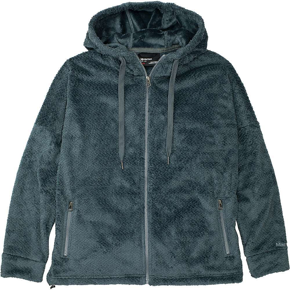 Features of the Marmot Women's Avens Hoody High pile Performance fleece Polyester for quick-drying for minimal heat loss Drop shoulder detail Zipper secure hand pockets Adjustable hem cinch for customized Fit 3-Piece hood Drawcords Fabric Details 100% Polyester Moleskin Tricot Fleece - $98.95