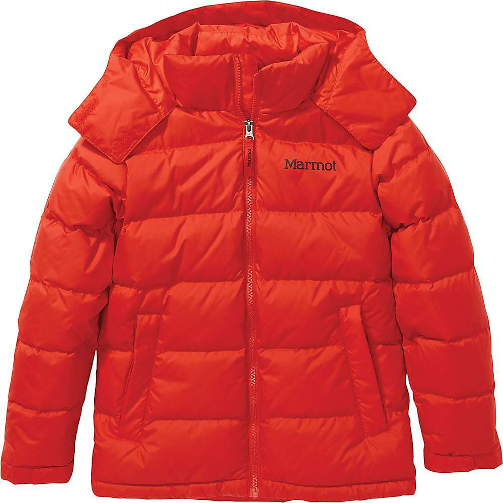 Features of the Marmot Kids' Stockholm II Jacket 700-Fill down Fixed hood Exposed center-front zipper with interior wind flap Welt zipper hand pockets Interior VELCRO pocket VELCRO adjustable cuffs Fabric Details 100% Recycled Polyester Plain Weave - $174.95