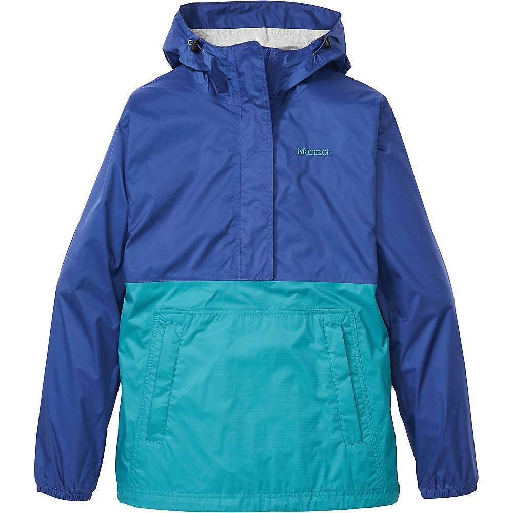 Features of the Marmot Women's Precip Eco Anorak Marmot NanoPro waterproof and breathable fabric coating Environmentally conscious PFC-Free DWR for premium water repellency 100% Seam-taped for complete leak-proof protection Fixed hood with peripheral cord adjustment Packable design stuffs into own pocket Zippered hand pockets Elastic cuffs Drawcord adjustable hem Fabric Details NanoPro Eco 100% Recycled Nylon Ripstop - $89.95