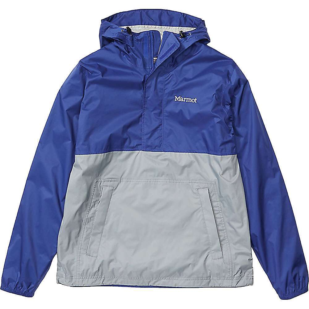 The Marmot Men's PreCip Eco Anorak is a pullover rain jacket with a lightweight and packable design. Featuring a PFC-free NanoPro membrane and recycled ripstop face fabric, this jacket provides durable waterproof Performance in an eco-friendly format. The 1/4 zip is great when you want to cool off or give off a cool look, and the whole thing stuffs into its own pocket for compact storage in your pack. Features of the Marmot Men's PreCip Eco Anorak Marmot NanoPro waterproof and breathable fabric coating 100% seam-taped for complete leak-proof protection Attached adjustable hood Zippered hand pockets Stuffs easily into its own pocket Elastic cuffs Adjustable drawcord hem Fabric Details NanoPro Eco 100% Recycled Nylon Ripstop - $90.00