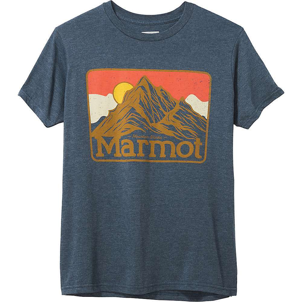 Features of the Marmot Men's Mountain Peaks Short Sleeve Tee Marmot UpCycle product made with post-consumer recycled materials Certified organic cotton for comfort and breathability Recycled polyester is quick drying Cotton for comfort Classic crew neckline Front logo Fabric Details 52% Recycled Polyester, 48% Cotton - $28.95