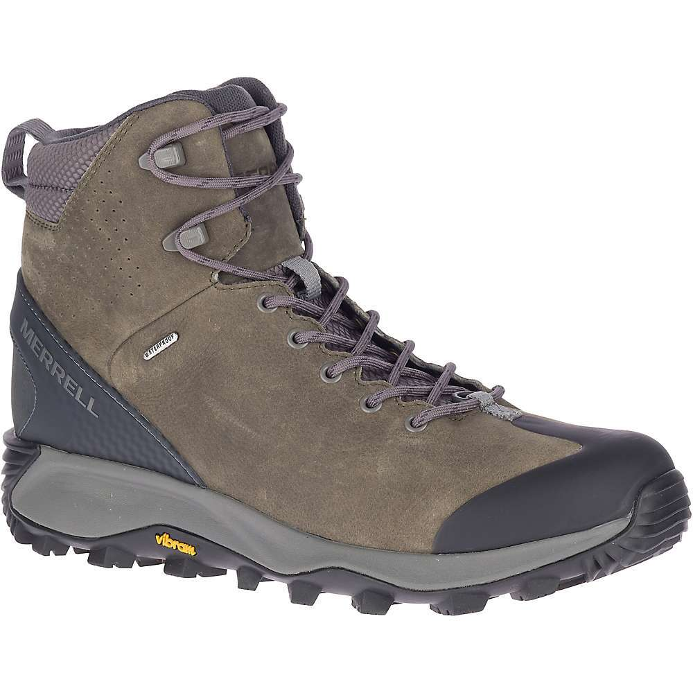 Features of the Merrell Men's Thermo Glacier Mid Waterproof Boot Waterproof full grain leather Upper Metal hooks for secure lacing Protective rubber toe cap Bellows tongue keeps debris out Conductor eece lining for added warmth 1.5mm Primaloft aerogel over-the-toe Insulation traps in heat where you need it most even when compressed Heat-re ecting insole radiates body heat back toward the foot Merrell kinetic Fit base removable contoured insole for flexible support Compression molded EVA Midsole for stability and comfort Molded nylon arch shank Vibram arctic grip Outsole for grip on wet ice and packed Snow - $179.95