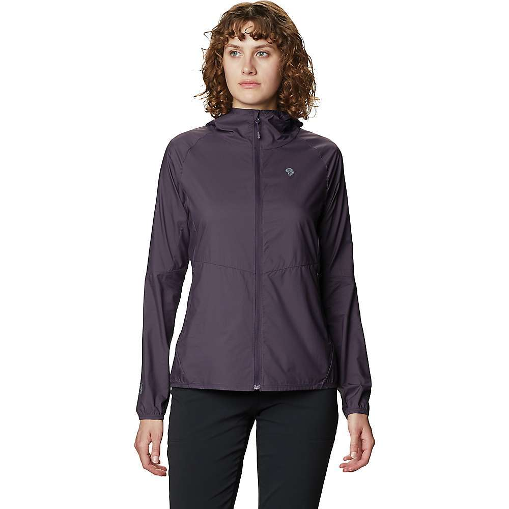 The Mountain Hardwear Women's Kor Preshell Hoody is a versatile layer that balances weather protection and breathability. This lightweight yet durable jacket is made of Pertex; Quantum Air; fabric that's water-resistant, blocks the wind and allows sweat vapor to escape. It's also a bit stretchy so you won't feel restricted as you push on through blustery conditions. The whole thing stuffs neatly into its own hand pocket for compact storage. Features of the Mountain Hardwear Women's Kor Preshell Hoody Lightweight Pertex Quantum Air 20D Stretch Ripstop nylon Harness-compatible zip hand pockets Zip closure at front Full hood Packs down into pocket Fabric Details Pertex Quantum Air 20D Stretch Ripstop (100% Nylon) - $130.00