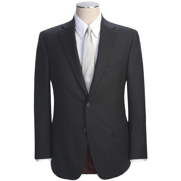 CLOSEOUTS . Celebrated Loro Piana wool gives this Jack Victor suit an air of privilege and luxury. The beautifully draping, year-round fabric sports a faint and closely spaced Slim Jim stripe. Available Colors: NAVY, BLACK, DARK BROWN, DEEP NAVY. Sizes: 38, 40, 42, 44, 46, 48, 50. - $436.36