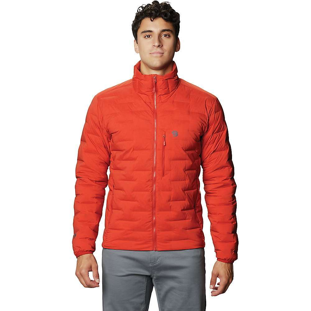 The Mountain Hardwear Men's Super/DS Jacket is a down insulated puffer jacket designed for active pursuits. Dynamic stretch fabric maximizes freedom of movement and also keeps the down clusters properly lofted for optimal thermal Performance. The unique continuous baffling pattern efficiently traps warmth and avoids the cold spots caused by stitching. The Slim, tapered profile Fits comfortably under a shell and keeps out of your way while on the move. Features of the Mountain Hardwear Men's Super/DS Jacket 700 Fill RDS certified, lightweight, breathable down retains maximum loft Exclusive stretch woven fabric delivers incredible durable stretch Alpine Fit and integrated stretch provide streamlined Performance Insulation: 700 Fill RDS certified/flourine free 90% goose down, 10% goose feather Fabric Details 85% Nylon, 15% Elastane - $250.00
