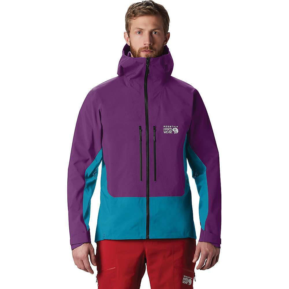 The Mountain Hardwear Men's Exposure/2 GTX Pro Jacket is a durable shield against harsh mountain weather. Built for skiers and climbers so they can stay comfortable and hang tough in the rain, Snow and wind. Constructed with 3L Gore-TEX Pro shell fabric, it's waterproof, breathable and ready to take on the weather. Pit zips offer a quick way to dump excess heat while a helmet-compatible hood protects your head. Oversized pockets hang onto extra gloves or skins when not in use. Features of the Mountain Hardwear Men's Exposure/2 GTX Pro Jacket Waterproof 3-layer Gore-Tex pro shell provides superior lightweight breathable protection Oversized venting for easy temperature control 2 Large, harness-compatible chest pockets Fully-adjustable, helmet compatible hood with cohaesive embedded cord locks Recco avalanche rescue reflector Internal storage pockets Gore-Tex: Offers enduring weather protection, comfort, balanced heat transfer and optimum moisture management Fabric Details Goretex pro shell 70D 3L 100% Nylon - $650.00
