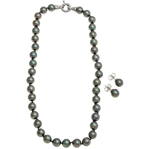 CLOSEOUTS . Joia de Majorca's rose-tinted organic pearls might just bring out your own inner glow, with a stunning iridescence that alternates a lighter color between two darker colors of pearls. Available Colors: SOFT PINK HUES, BLACK/BLACK/RHODIUM, GREY/GREY/RHODIUM. - $95.96