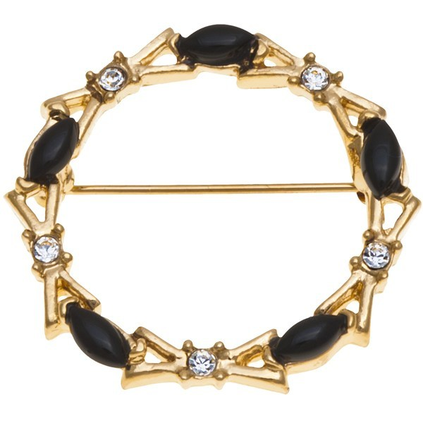 CLOSEOUTS . Crystal-topped bow shapes link with onyx stones to create Jokara's Genuine Onyx Circle pin, plated with 14K gold. Available Colors: GOLD. - $5.36