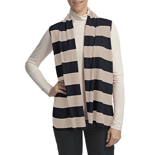 CLOSEOUTS . The ultimate layering piece for your cool-weather wardrobe, Lilla P's Cotton Cashmere Stripe flyaway sweater vest sets a tone of classic luxury. The soft, breathable cotton is woven with a touch of cashmere for a luxe look and feel, is finished with chic fly-away detail in the back and can be worn over anything from a tank to a turtleneck! Available Colors: CAMEL/VERMILLION, NAVY/CHALK. Sizes: M/L, P/S. - $18.80