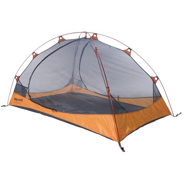 Camp and Hike CLOSEOUTS . Dependable and easy to set up, Marmot's Ajax 2 tent minimizes weight by keeping things simple yet highly functional. Mesh panels provide optimal ventilation and a Catenary Cut floor lifts seams off the ground for full waterproof protection in nasty weather. Available Colors: PALE PUMPKIN/TERRACOTTA. - $169.95