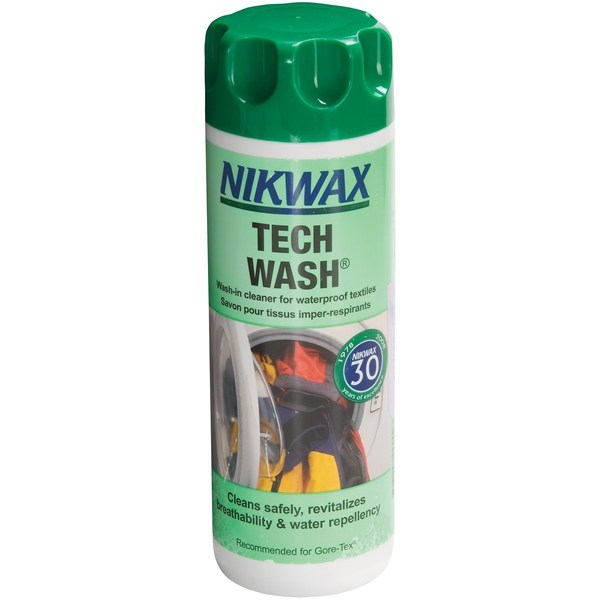 Camp and Hike CLOSEOUTS . Use Nikwax' wash-in waterproofing Tech wash on your trusty waterproof gear and apparel to revitalize their breathability and increase water repellency. Just add to the wash, and you're set for another full season of performance! - $8.75