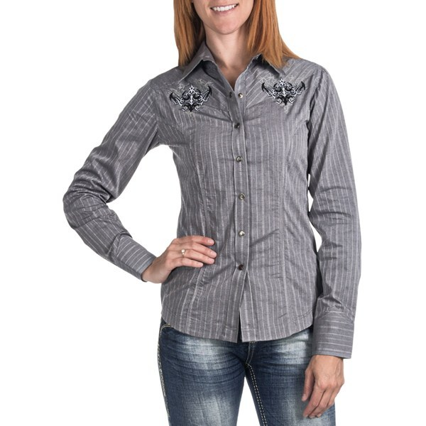 CLOSEOUTS . Satin stripes, two-tone chest and back embroidery and flattering princess seams dress up the classic Western style of Panhandle Slim 90 Proof Satin Stripe shirt. Available Colors: 05 GREY. Sizes: XS, S, M, L, XL. - $18.01