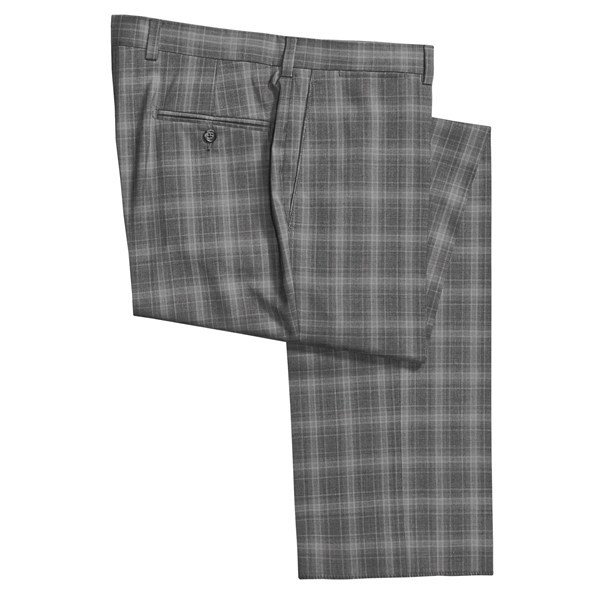 CLOSEOUTS . The subtle pattern in Riviera's Armando wool plaid dress pants suggests a hazy echo of a classic glen plaid, in a year-round weight. Available Colors: GREY. - $138.95